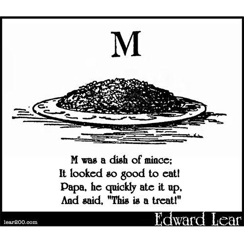 M was a dish of mince